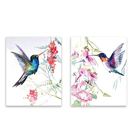 hand draw Bird Wall Art Print, 8x10 inch Set of 2 Unframed Art Print,Stunning Watercolor Style Hummingbirds flower Decor for Kitchen Bedroom Office Bathroom Home Decor