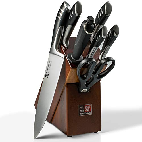 Premium Double Forged Full Tang Chef Knife Set with Rubber Wood Block