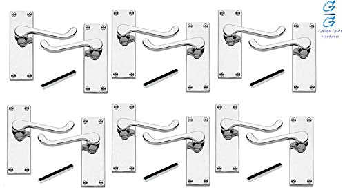 6 x Pairs of Victorian Scroll Polished Chrome Lever Latch Door Handles 120mm Long Premium Quality - Golden Grace