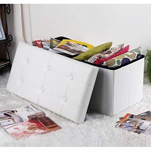 Puff Almacenaje, Asiento Acolchado 76 x 38 x 38 cm Baúl Puff Taburete para almacenaje Plegable Carga Blanco