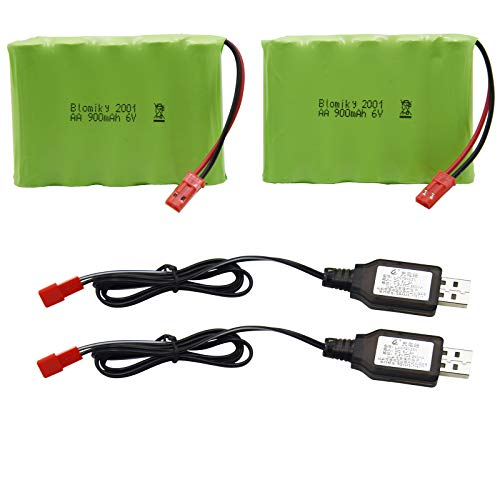 Blomiky 2 Pack 6V 900mAh AA Battery Pack with JST Plug and USB Charger Cable for New Huina 540 Dump 520 RC Bulldozer and 510 Excavator 540 Battery 2