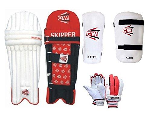 CW MAX Protective Gear Cricket-Set für Rechtshänder, für 13+ Jahre Senioren (Schlagbeinschoner, Arm- und Oberschenkelschutzhandschuh)