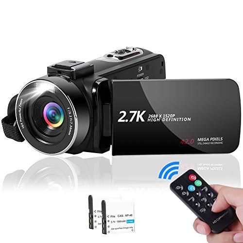 Camcorder Videokamera 2.7K 42MP mit LED-Fülllicht, 18X Digital ZoomDigitalkamera3,0 Zoll IPS-Bildschirm Vlogging-Kamera für YouTube mit Fernbedienung, 2 Batterien