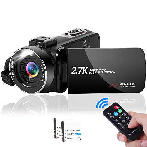 Camcorder Videokamera 2.7K 42MP mit LED-Fülllicht, 18X Digital Zoom Digitalkamera 3,0 Zoll IPS-Bildschirm Vlogging-Kamera für YouTube mit Fernbedienung, 2 Batterien