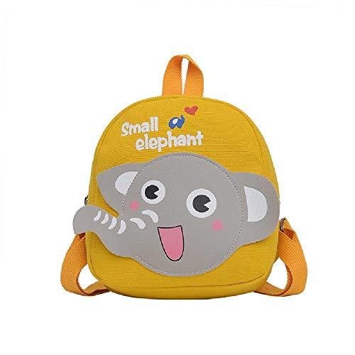wangtao Baby Elephant Children's Backpack Canvas Print Kindergarten School Bag Hit Color Cartoon Cute Children's School Bag 1PCS/ yellow
