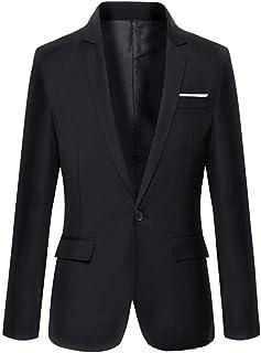 CLASSIX Men's Black Slim Fit Cotton Suit Blazer Black XXL