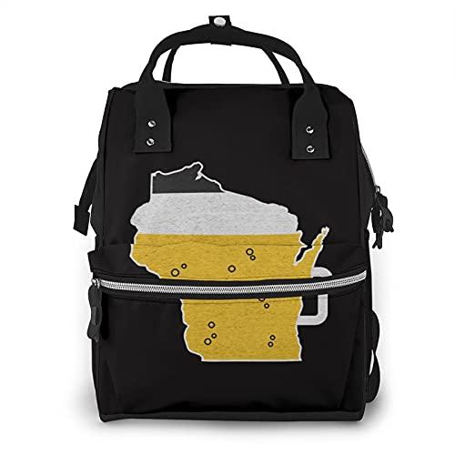 Funny Wisconsin State Map Cerveza Apariencia Gran Capacidad Multifunción Mummy Mochila Bebé Pañal Bolsas Para Cuidado Del Bebé