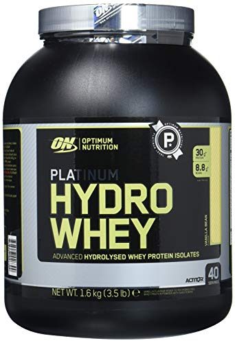 Optimum Nutrition Hydro Whey Whey Protein Powder Isolate with Essential Amino Acids, Glutamine, and BCAA by ON - Cookies & Cream, 40 servings, 1.59kg