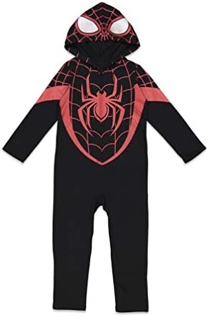 Marvel Spiderverse Miles Morales Toddler Boys Zip Up Hooded Costume Coverall 5T Black product image