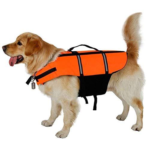Chaleco salvavidas para perro, correas ajustables con zona reflectante, chaleco salvavidas para perro con asa de rescate