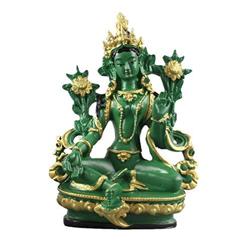 CHUCHEN 13.5cm Height Tibet Tibetan Buddhism Statue Green Tara Buddha Statue Resin Tantric Buddhist Figure Figurine