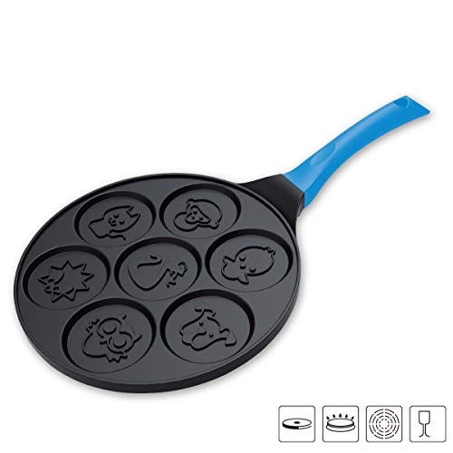 TAOKEY pancake pan nonstick,pancake griddle,pancake mold, 10 Inch Mini Grill Pan with 7 Flapjack Faces Waffle Maker Nonstick Breakfast Pan for Pancake blue