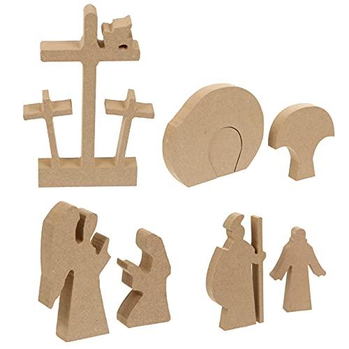 VOSAREA 1 Juego de Estatua de Pascua de Jesús Escultura de Cruz de Jesús Hijo de Dios Ornamentos de Madera en Forma de Jesús Decoración de Estatua de Mesa Regalo Cristiano