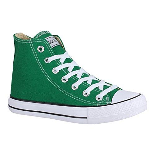 Elara Unisex Sneaker Sportschuhe High Top Turnschuh Chunkyrayan 014-A-CA014-Green-38