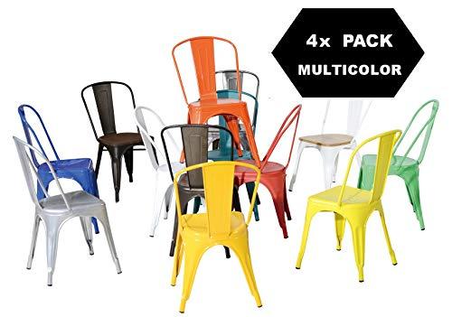 TF Sillas de Metal de Estilo Industrial Paquete DE 4 Piezas Tolix Design Colores DE ELECCIÓN Mixta