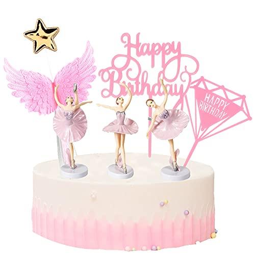 Babioms Cake Topper Kit, Dance Topper per Torte Compleanno, Decorazione Torta Compleanno, Principessa Cupcake Topper, Cake Topper Acrilico, Bambina (7 Pezzi)