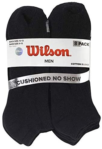 Wilson Men's No Show Socks, Size 10-13, Color Black (Pack of 8)