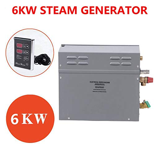 Caredy Dampferzeuger, 6KW Dampfduschen Saunaofen Dampfsauna Dampfduschsystem TM60 Touch Control Temperatur Zeit Anzeigefeld(EU-Norm 220V)