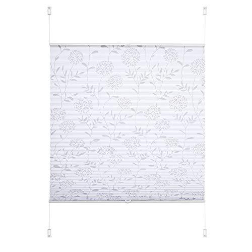 JalousieCrew Klemmfix Plissee Ausbrenner Weiss - Breite 40 bis 120 cm, Länge 130 cm und 210 cm - Klemm - Rollo ohne zu Bohren (110 x 130 cm)