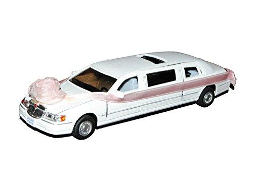 Unbekannt Lincoln Town Car Stretch Limousine Weiss mit Hochzeitsschleife ca 1/43 1/36-1/46 Modellcarsonline Modell Auto mit individiuellem Wunschkennzeichen
