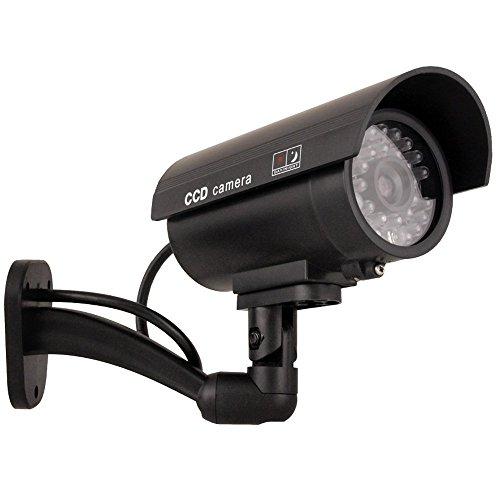 Videocamera Fittizia IR9000 B con IR e LED Telecamera Finta Falsa Dummy Camera Sorveglianza CCTV Colore Nero