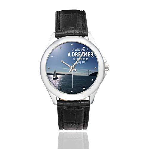 InterestPrint Inspirational Quote over Sea A Winner Women's Black Leather Strap Watch Waterproof Wrist Watches