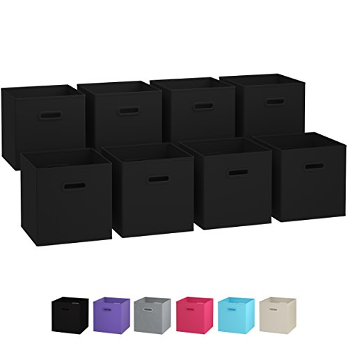 Royexe Storage Bins - Set of 8 - Storage Cubes | Foldable Fabric Cube Baskets Features Dual Plastic Handles. Cube Storage Bins. Closet Shelf Organizer | Collapsible Nursery Drawer Organizers (Black)