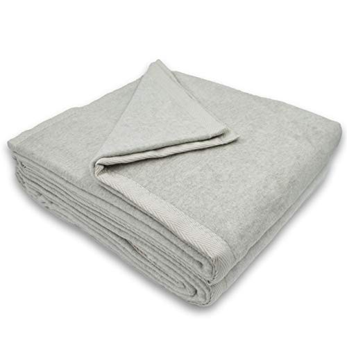 Sferra Luxury Plush Blanket - 100% Cotton, Made in Portugal Exclusively Fine Linens (King (108' x 90'), Grey)