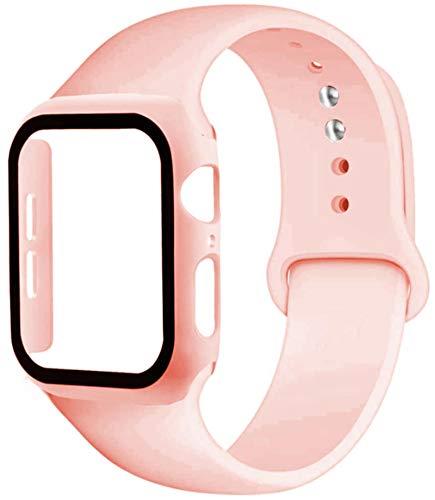 Vidrio + Correa para Apple Watch Band 44mm 40mm 38mm 4mm Protector de pantalla + Estuche + Accesorios de cinturón Pulsera para IWatch Series Se 40