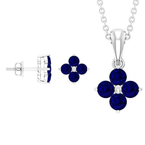 Rosec Jewels 10 quilates oro blanco redonda Blue Zafiro azul creado en laboratorio.
