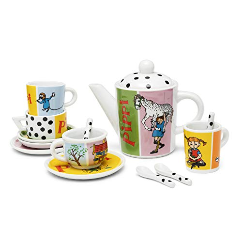 Micki & Friends 44378700 - Kinder Pippi Langstrumpf Teeservice 14-teilig: 4 Tassen, 4 Teller, 4 Löffel, 1 Teekanne Kaffeekanne - Puppenhaus-Zubehör - Puppengeschirr, Spielgeschirr - ab 3 Jahre