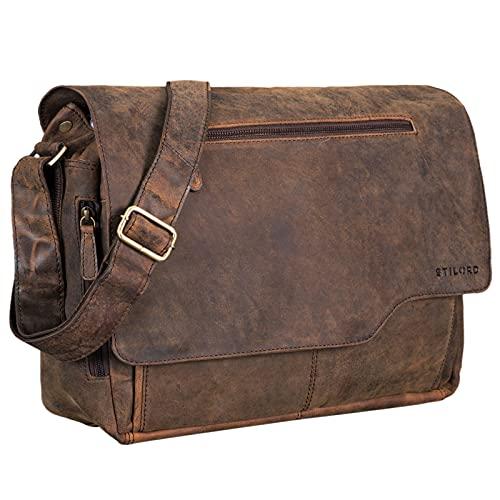 STILORD 'Marvin' Borsa Messenger vintage in pelle Grande borsa a tracolla da uomo donna per l'università ufficio lavoro Borsa porta PC 15.6 pollici, Colore:colorado - marrone