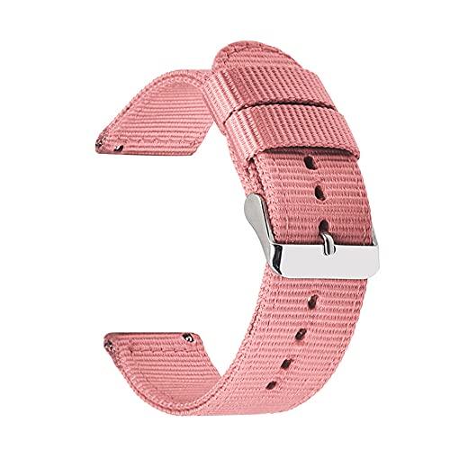 Correas De Reloj De Nylon 18 mm 20 mm 22 mm 24 mm Nylon Lienzo de la Correa Reloj de Reloj de Reloj 42mm 46mm Banda de Pulsera Correa Reloj (Band Color : Pink)