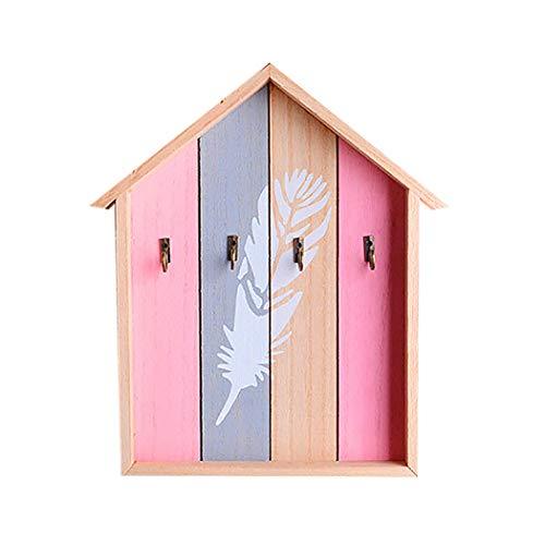 JUSTDOLIFE Porte-CléS Mural Maison en Bois en Forme De Maison Organisateur Clé