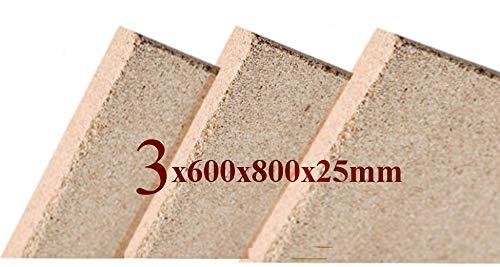 3x Vermiculite Brandschutzplatten 800x600x25mm Schamotte Ersatz