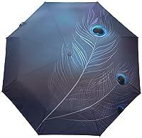 たっての熱ピーコックフェザー防風トラベル傘オートオープンクローズ3折りたたみ強力耐久性コンパクトレイン傘UVプロテクションポータブル軽量簡単持ち運び