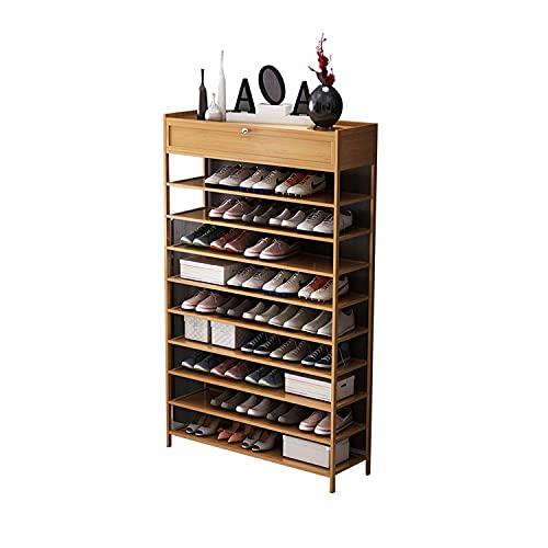 Zapatero para el hogar, organizador de zapatero de madera de 10 niveles Zapatero de almacenamiento resistente y multifuncional, puede contener zapatos, bolsos, jarrones (Color: A, 90 * 25 * 150 CM)