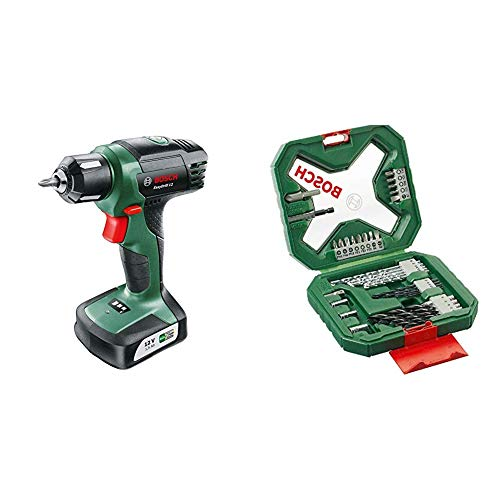 Bosch Taladro atornillador a batería EasyDrill 12 + Bosch X-Line - Maletín de 34 unidades para taladrar y atornillar