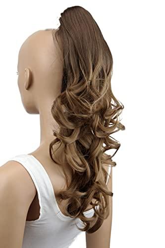 PRETTYSHOP 50cm Postiche Natte Queue De Cheval Extensions De Cheveux Volumineux Ondulé Brun Ombré H122