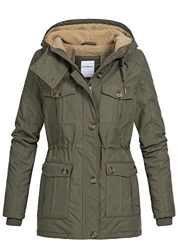 Seventyseven Lifestyle Damen Winter Jacke Kapuze Teddyfell Parka 6 Taschen Olive grün, Gr:M