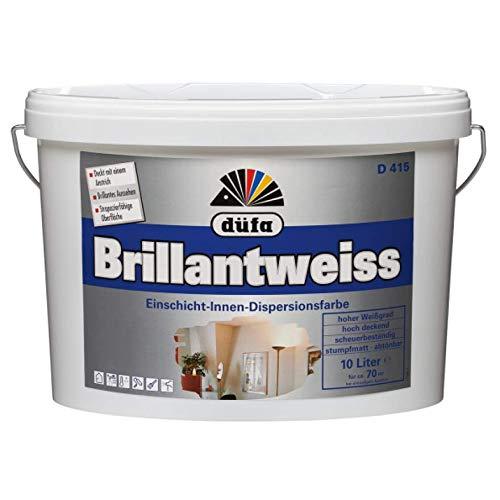 Düfa D415 Brillantweiss Einschicht-Innen-Dispersionsfarbe Wandfarbe Stumpfmatt Weiß 10 L