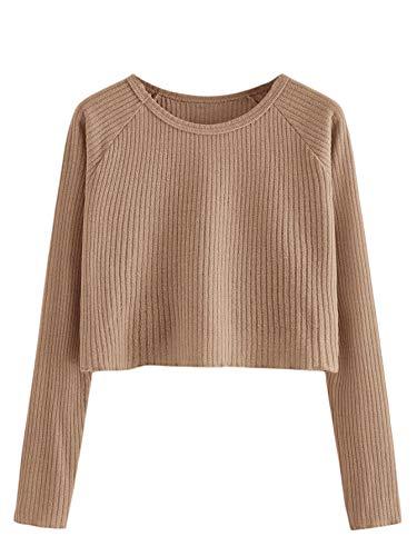 SweatyRocks Women's Casual Solid Ribbed Knit Raglan Long Sleeve Crop Top T Shirt Brown S