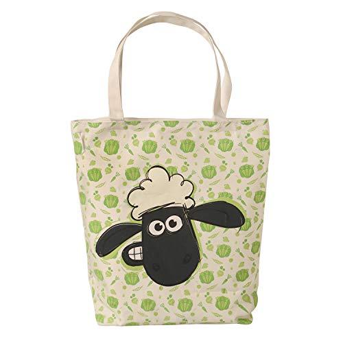 Tasche mit Motiv Shaun das Schaf mit Reißverschluss, Material: 20% Baumwolle 80% Polyester m. Kunststofffutter, Maße: H 38 cm x B 37 cm x T 8 cm, der perfekte Einkaufsbegleiter