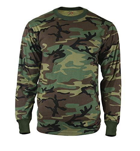 Rothco Long Sleeve Camo T-Shirt, Woodland Camo, M