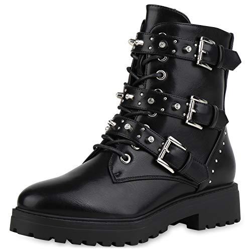 SCARPE VITA Damen Schnürstiefeletten Leicht Gefütterte Stiefeletten Leder-Optik Schuhe Biker Boots Nieten Strass Stiefel 185720 Black Schwarz 36