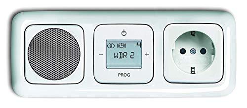 Busch Jäger picchiarlo radio digitale a incasso (8215U) bianco genieforce-set relex SI altoparlante + 20EUC -214 presa + Radio unità in 3 posizioni telaio integrato