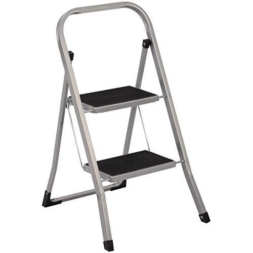 Preisvergleich Produktbild Trittleiter 2 Stufen Leiter Klapptritt Klappleiter Klapptreppe Tritt Haushaltstritt Stehleiter Sprossenleiter klappbar faltbar bis 150 kg (2 Stufen,  silber / schwarz)