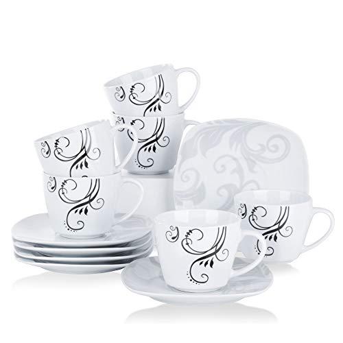 VEWEET Porzellan 6 Kaffeetassen mit 6 Untertassen \'Zoey\' 12-teilig Set | Füllmenge 220 ml | Ergänzung zum Tafelservice \'Zoey\' | Kaffeeservice Set für 6 Personen