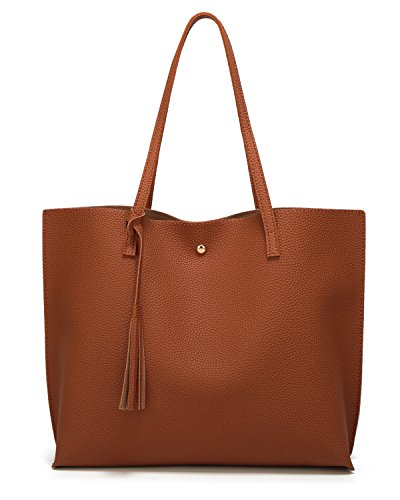 Women's Soft Faux Leather Tote Shoulder Bag from Dreubea, Big Capacity Tassel Handbag Brown