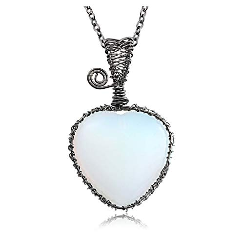 JOVIVI Opalite Heart Gemstone Wire Wrapped Crystal Necklace Women Jewellery,Natural Love Heart Stone Reiki Healing Pendant Necklace Gun Black Chain